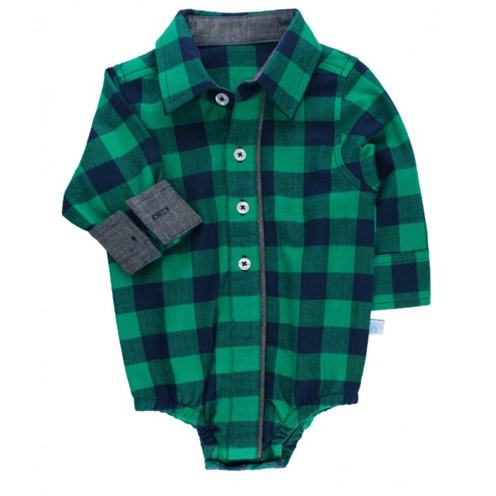 Ruffle Butts Navy And Green Buffalo Plaid Onesie For Baby Boys
