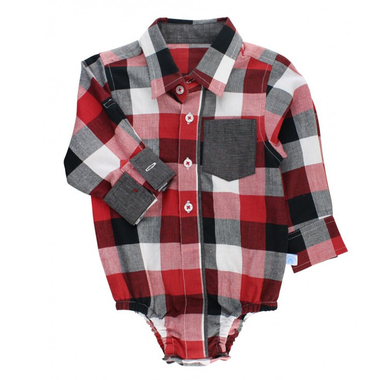5e2c3b87a Rugged Butts Red Plaid Flannel Button-Up Bodysuit for Baby Boys