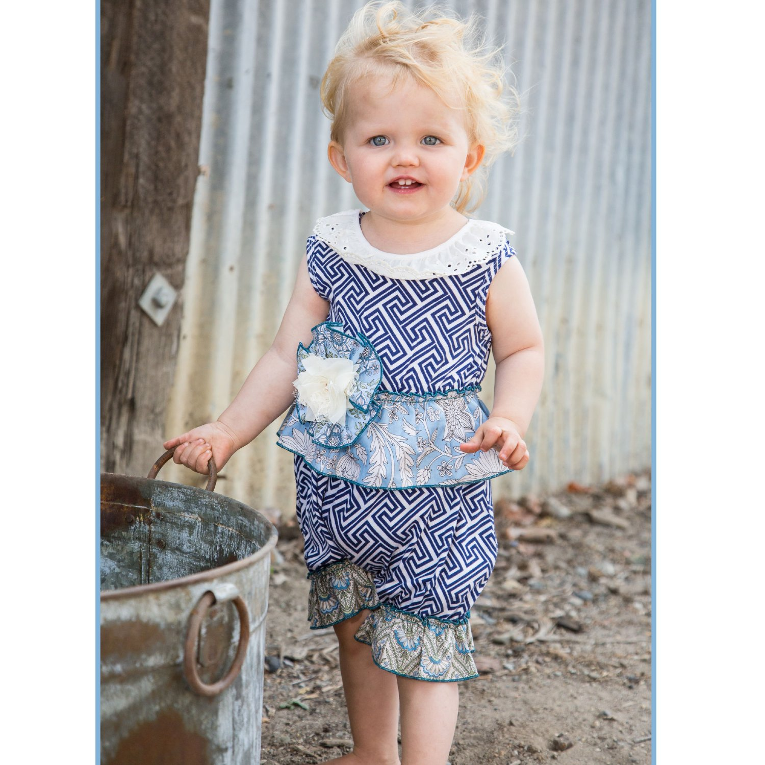 ebe6f14b93af She Bloom Blueberry Farm Zigzag Bubble for Baby Girls