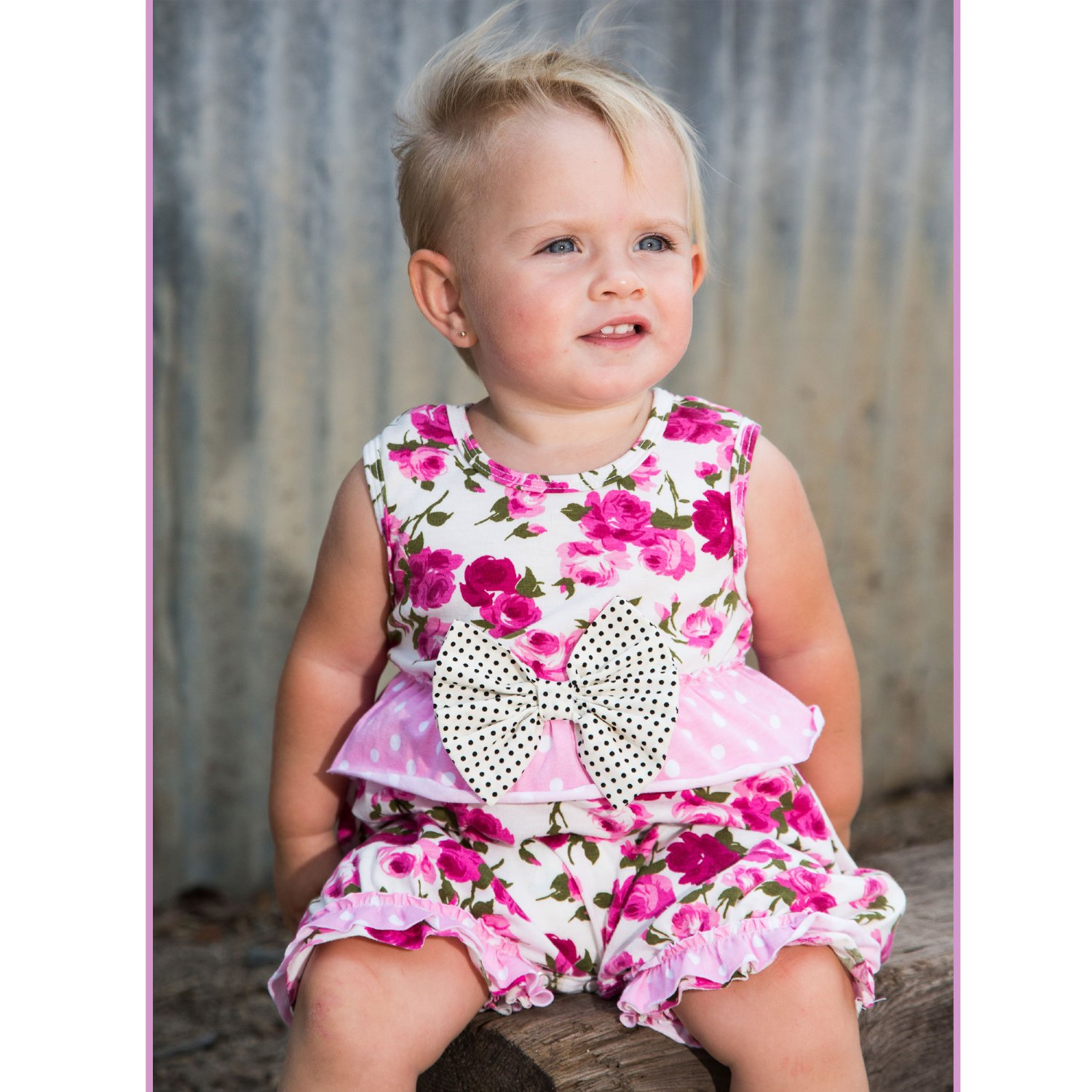 06f8a30615c0 She Bloom Strawberry Fields Bubble Romper for Baby Girls