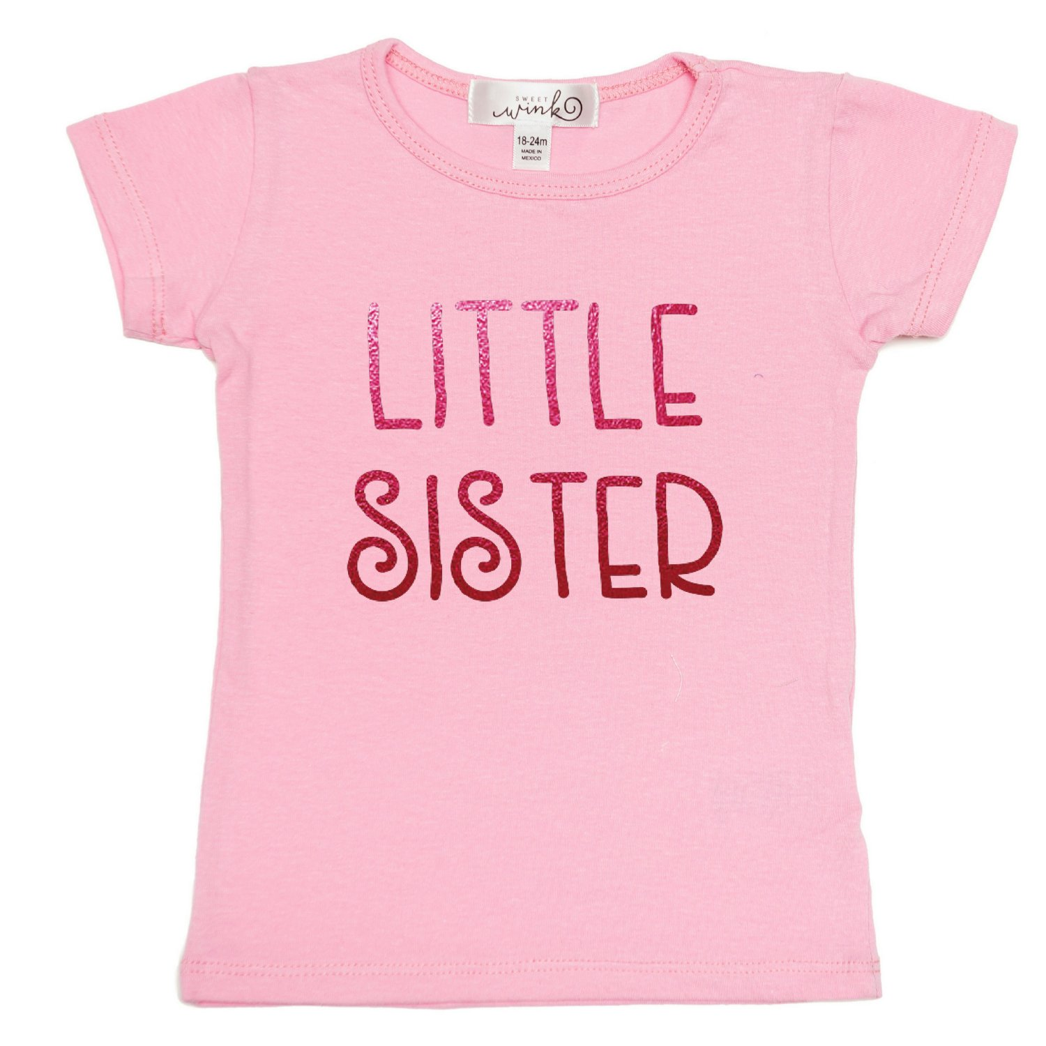 This is What An Awesome Little Sister Looks Like Pink Tshirt Text Baby Toddler K