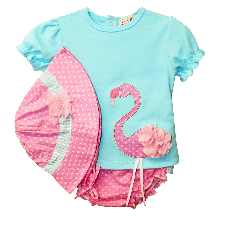 Zubels franny flamingo shirt diaper cover and sun hat set jpg 1500x1500  Toddler flamingo hat 7835cb5c4365